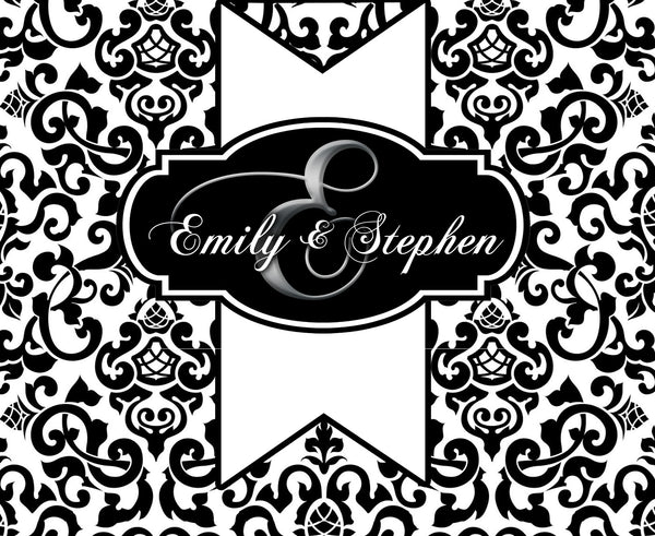 custom monogram on black damask folded note card, thank-you