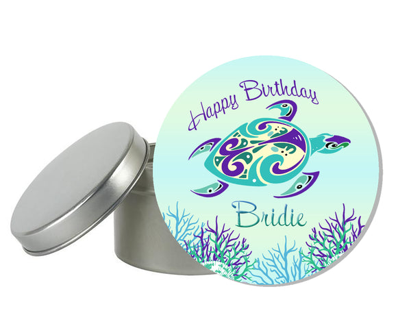 (sku442) Ocean sea turtle | round label | goody bag sticker | beach party favor labels - Best Welcome Bags