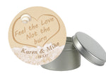 Names in sand round label for tin mason jar snack bag wedding