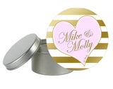 round gold ink stripe and heart label 4 mason jar, tin, or goody bag
