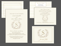 (sku110) custom wedding invitation | Gold on ivory | itinerary | welcome note | program - Best Welcome Bags