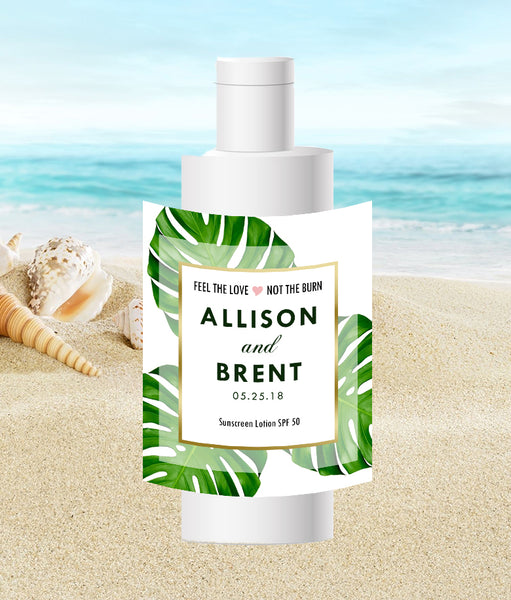 Monstera palm leaf travel size sunscreen label | Best Welcome Bags