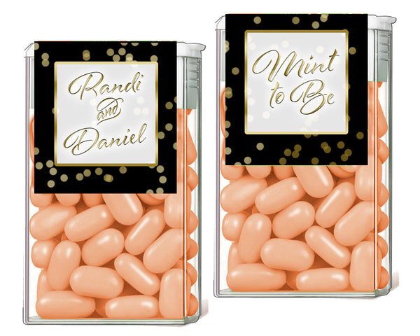 (sku204) Custom Tic Tac label | gold dot on black | candy wrapper | tictac mint sticker - Best Welcome Bags