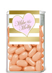 gold stripe with heart custom tic tac mint container label