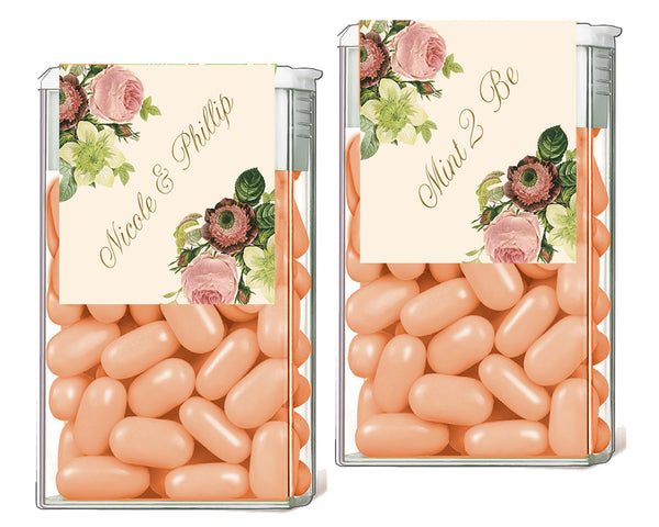 (sku124a) blush floral TicTac label | Tic Tac sticker | mint label | candy container wrapper - Best Welcome Bags