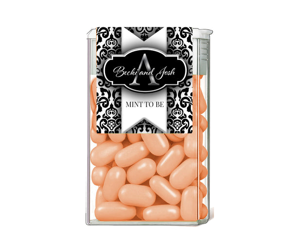 (sku153) black damask + monogram TicTac labels | Tic Tac stickers | candy wrappers - Best Welcome Bags