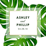 (sku460) welcome bag label | Giant palm leaf | Gable box sticker | beach wedding - Best Welcome Bags