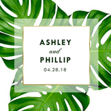mmonstera palm leaf adhesive label for wedding welcome bag