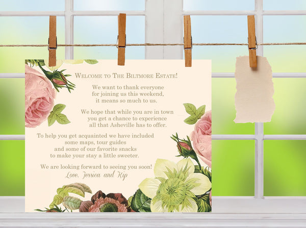 (sku118a)Welcome note blush roses on ivory 4 wedding welcome bag note, brunch, reception menu