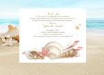 gold + pink seashell wedding welcome note | thank-you card