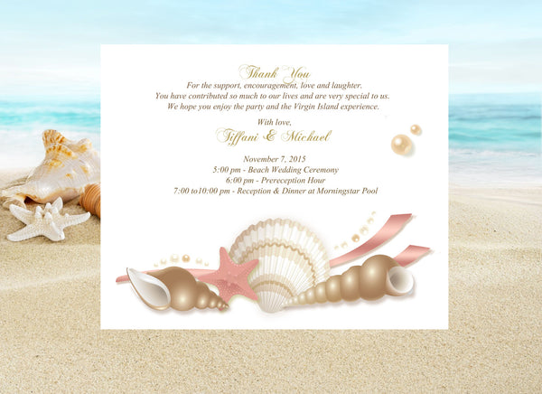 (sku430) pink + gold seashell | printed note card | welcome note | beach party invitation - Best Welcome Bags