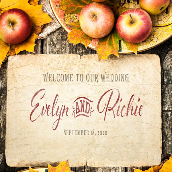 (sku360) Fall wedding | welcome bag labels  | Autumn apples | Gable box stickers - Best Welcome Bags