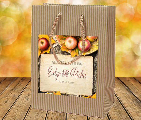 (sku361) Autumn wedding | apples on Kraft welcome bag | hotel guest gift bags - Best Welcome Bags