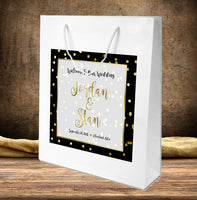 wedding welcome bag | gold dot on white hospitality guest bag