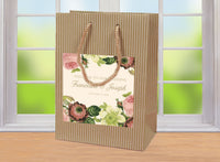 wedding welcome bag | blush rose floral on Kraft hospitality bag