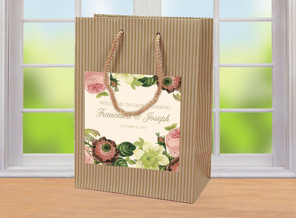vintage blush floral on rustic oatmeal wedding welcome bag