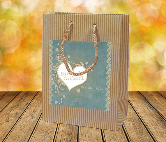 custom sage vintage, rustic Kraft welcome bag