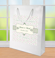 (sku061) pink + sage gingham on Kraft Wedding Welcome Bags | hotel guest gift bags