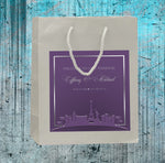 pick colors Las Vegas wedding welcome bag with skyline label