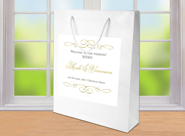 wedding welcome bag with scroll label applied in any color