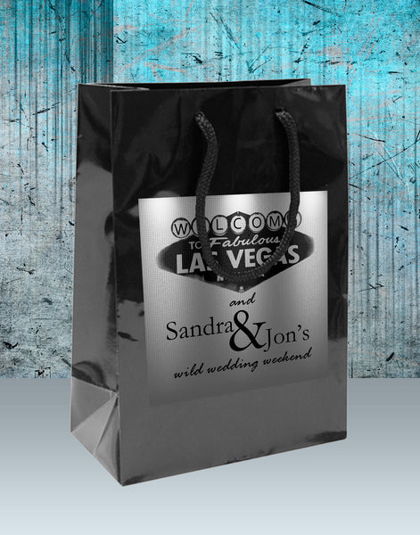 Wedding Welcome Bag with gold or silver Las Vegas label applied