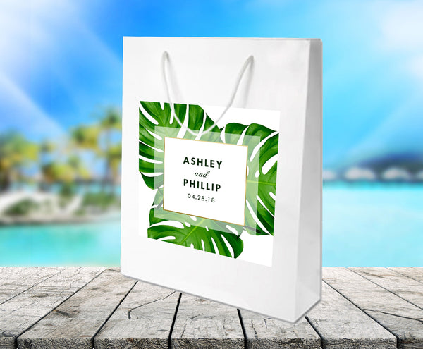 Custom monstera palm leaf white gloss wedding welcome bags