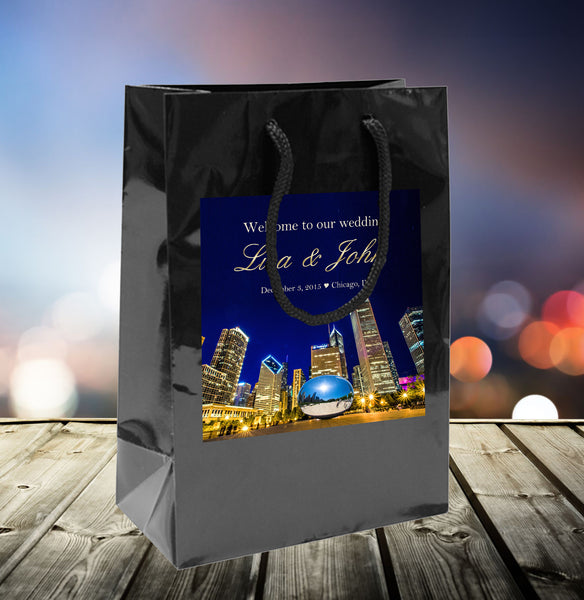 (sku498) Chicago Wedding Welcome Bags | hotel guest gift bags | Chicago gift bags - Best Welcome Bags