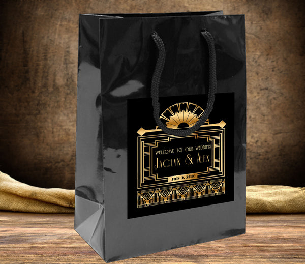 (sku262) Great Gatsby wedding welcome bag | hotel guest gift bags | party favor bag - Best Welcome Bags