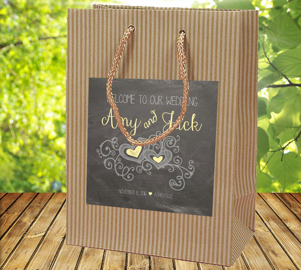 wedding welcome bag | chalkboard on Kraft hospitality bag