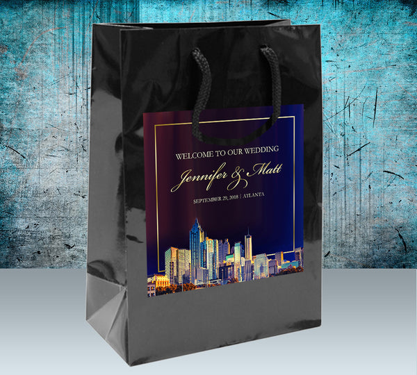 (sku549) Custom Atlanta Wedding Welcome Bags | Atlanta hotel guest gift bags