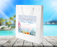 bright coral on white gloss beach wedding welcome bag