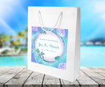 (sku466) welcome bags | Blue palm leaf | beach wedding  | hotel guest gift bags | favor - Best Welcome Bags