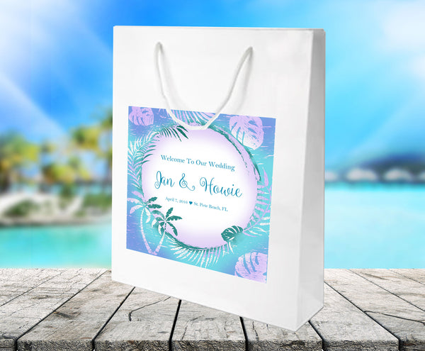 Custom blue palm leaf white gloss wedding welcome bags