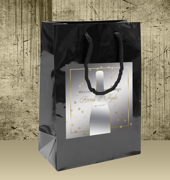 Wedding Welcome Bag | Gold and Silver Champagne bubbles