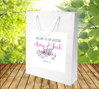 (sku057) Vintage chalkboard on rustic Kraft Wedding Welcome Bags | hotel guest gift bag