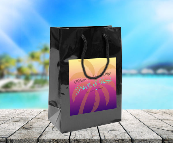 Custom palm tree bag for hotel welcome gift bag wedding favor