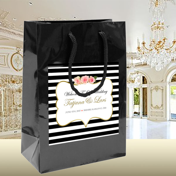 black stripe on black gloss wedding welcome bag, pink n gold