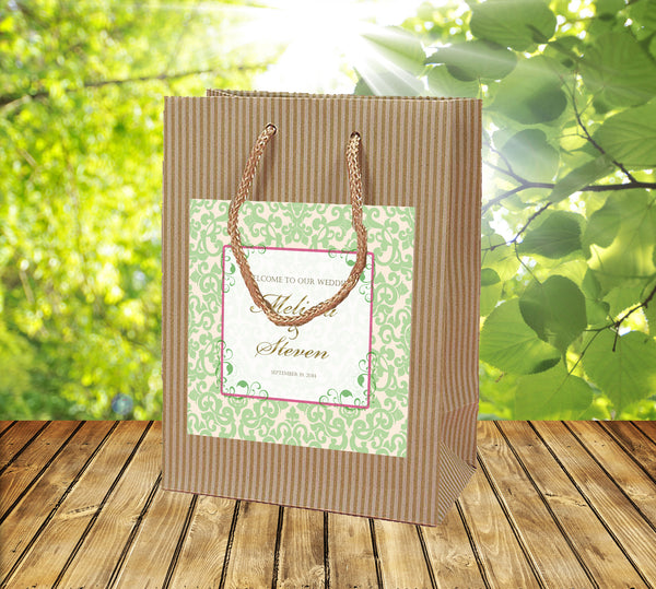 rustic welcome bag pale green on ivory label plus accent color