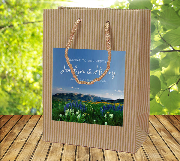 (sku504) Rocky Mountain Wedding | Colorado Welcome Bags | rustic floral or mountain - Best Welcome Bags