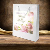 white gloss bag with custom blush roses label applied