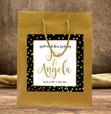 wedding welcome bag | gold dot on gold hotel guest bag