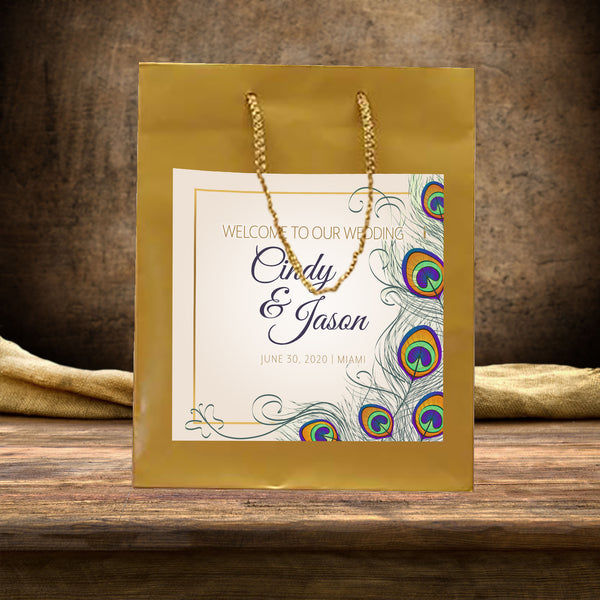 (sku287) wedding welcome bags | Gatsby Deco peacock | hotel guest gift bag - Best Welcome Bags