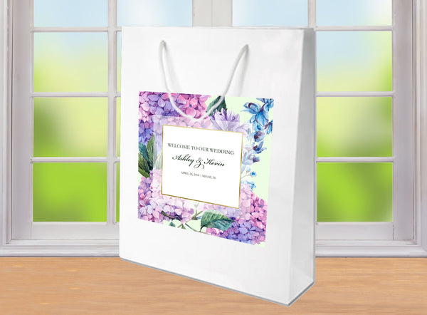 wedding welcome bag | pink + purple hydrangea on white gloss