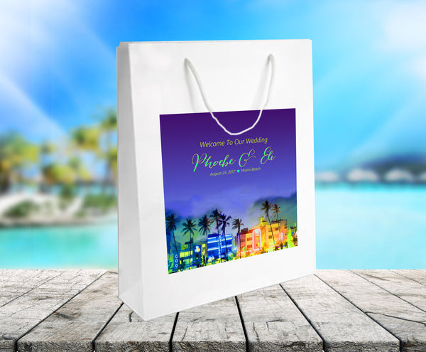 White gloss wedding welcome bag with Miami Beach label appleid