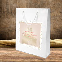 Disney Cinderella wedding welcome bag with pink n gold castle