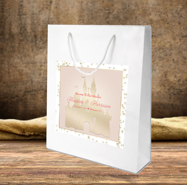 (sku639) Pink + Gold Disney Castle | Wedding Welcome Bag | hotel guest gift bag - Best Welcome Bags