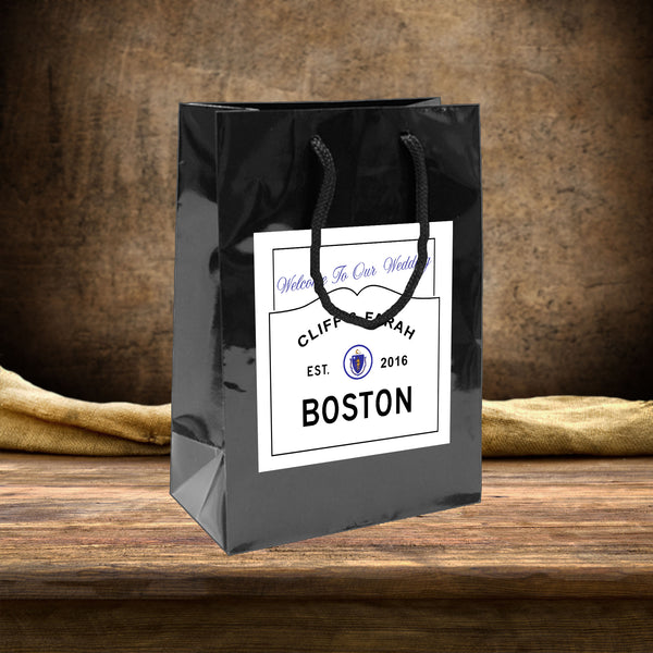 Wedding Welcome Bag with custom Boston MA label applied