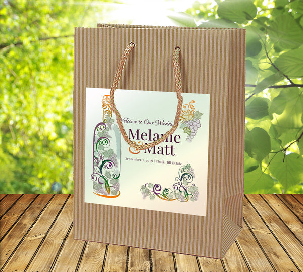 (sku487) Winery Wedding | Kraft Welcome Bags | winery event | hotel guest gift bags - Best Welcome Bags