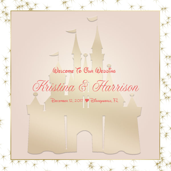 (sku638) pink + gold Disney Castle | Wedding Welcome Bag labels | Gable box stickers - Best Welcome Bags