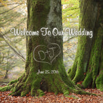 Initials in tree wedding welcome bag label for hotel guest bags